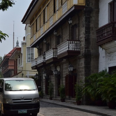 Drive through walled Intramuros Manila Philippines