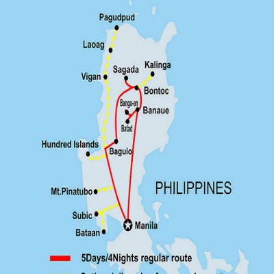 5D4N Cordillera Explorer Tour ROUTE MAP