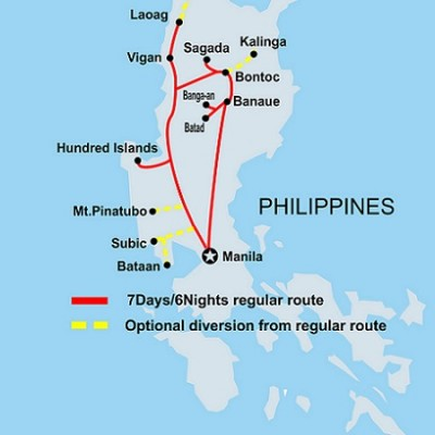7D 6N historic adventure round Northern Luzon TOUR MAP