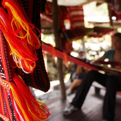 Batad Village and guest weaving