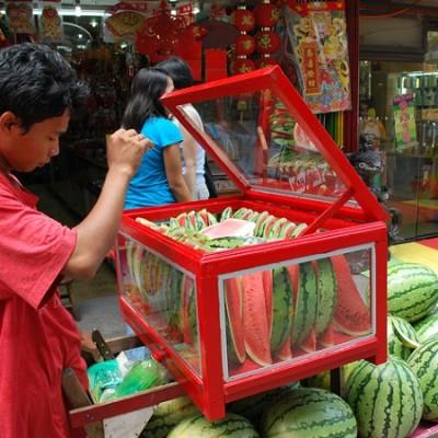 Ongpin street Binondo Manila watermelon vendor