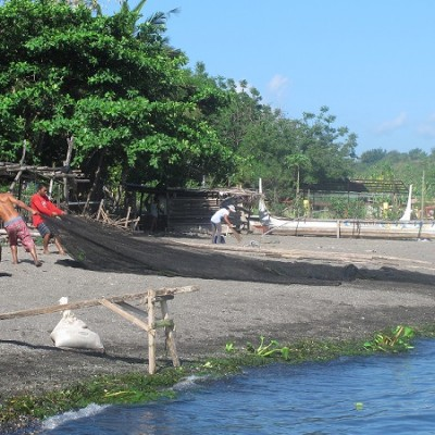 Taal lake with local fishermen at work