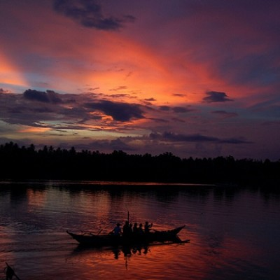 sunset at Donsol river Sorsogon Philippines