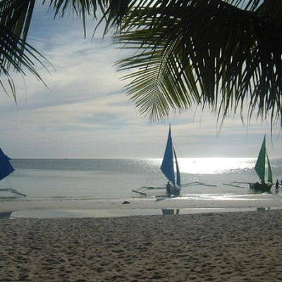 bancas on Boracay's White Beach Philippines