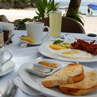 breakfast at Panglao beach Bohol Philippines