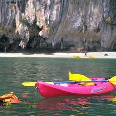 kayaking snorkeler lagoon Palawan