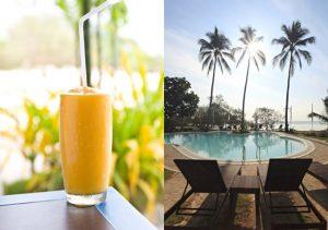 Microtel Palawan welocme drink at the pool