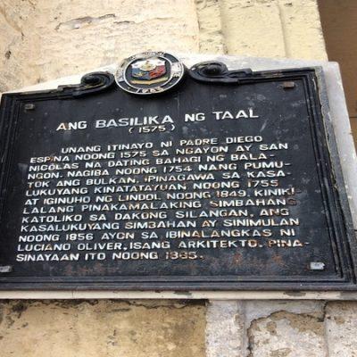 Taal Basilica Plaque